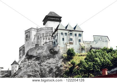 From sketch to the Trencin castle Slovak republic. Art technique.