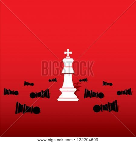 chess white king with black pawn team concept design vector
