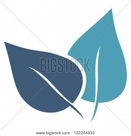 Flora Plant vector icon. Picture style is bicolor flat flora plant icon drawn with cyan and blue colors on a white background.