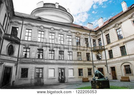 From sketch to the Sternberg palace courtyard in Prague Czech republic central Europe.