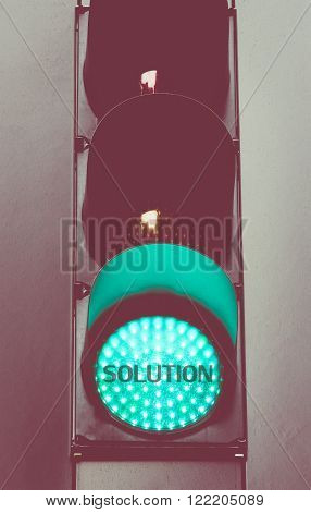 Close Up On Green Traffic Light Message Solution