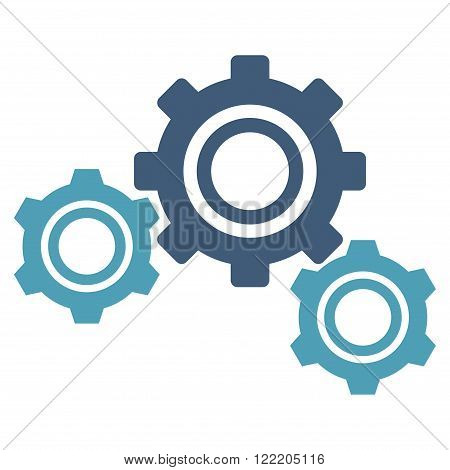 Preferences vector icon. Picture style is bicolor flat gears icon drawn with cyan and blue colors on a white background.