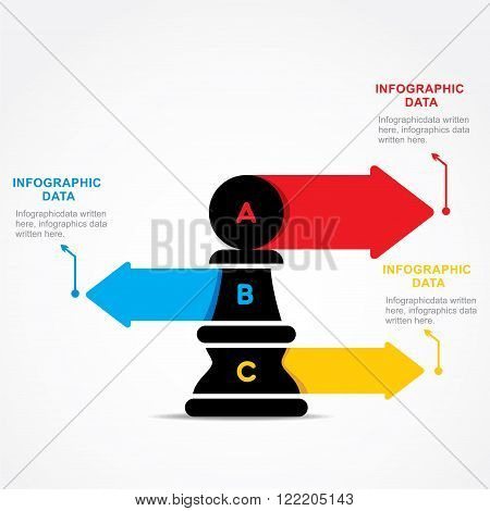 creative business info-graphic by chess pawn design vector
