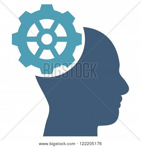 Head Gear vector icon. Picture style is bicolor flat head gear icon drawn with cyan and blue colors on a white background.