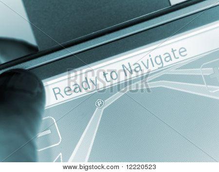 Male hand holding satellite navigation equipment