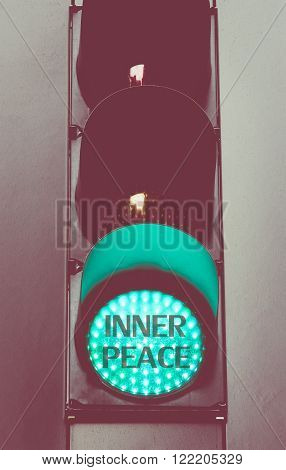 Green Traffic Light With Message Inner Peace