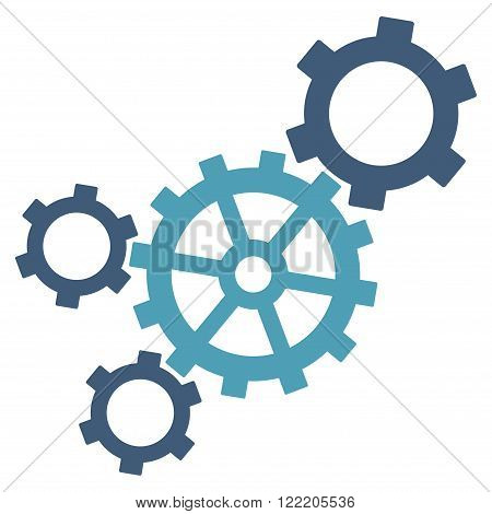 Mechanism vector icon. Picture style is bicolor flat mechanism icon drawn with cyan and blue colors on a white background.