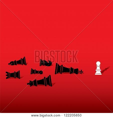 chess pawn defeat opposite team member and feel like king concept design vector