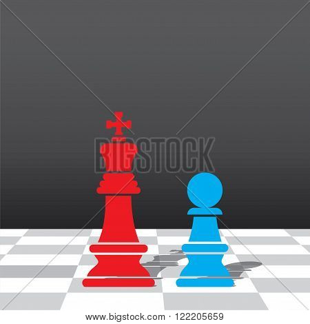 chess red king and blue pawn stand in front each other design vector