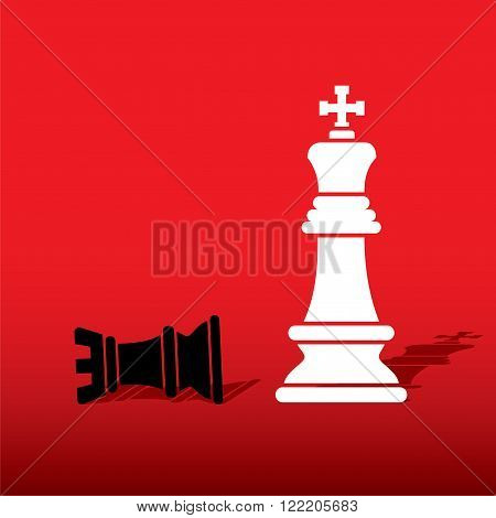 chess white king defeat black rook concept design vector