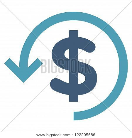 Refund vector icon. Picture style is bicolor flat refund icon drawn with cyan and blue colors on a white background.