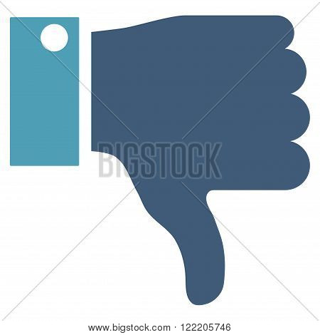 Thumb Down vector icon. Picture style is bicolor flat thumb down icon drawn with cyan and blue colors on a white background.