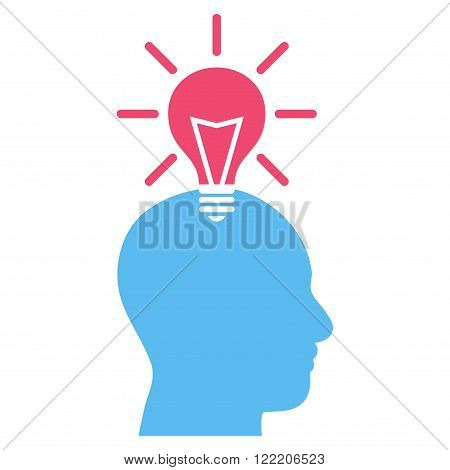 Genius Bulb vector icon. Picture style is bicolor flat genius bulb icon drawn with pink and blue colors on a white background.