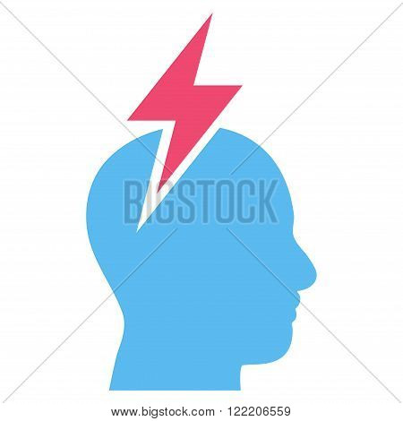Migraine vector icon. Picture style is bicolor flat headache icon drawn with pink and blue colors on a white background.