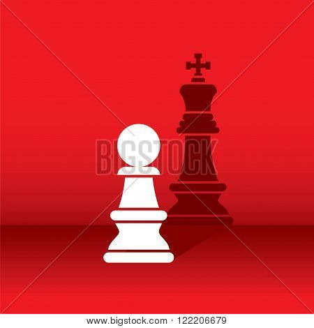 chess pawn dream become a king, shadow like king concept design vector