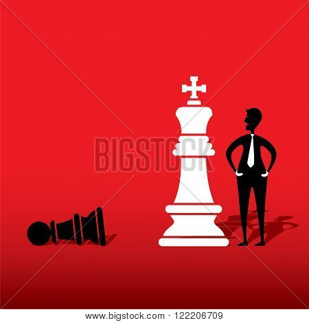 chess white king defeat black pawn concept design vector