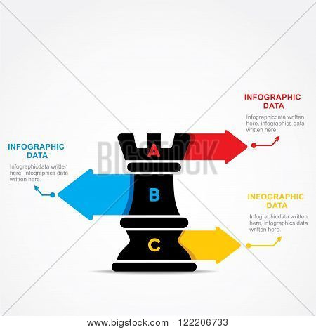 creative business info-graphic by chess rook design vector