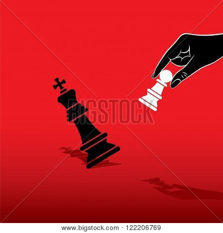 white pawn defeat black king chess concept design vector