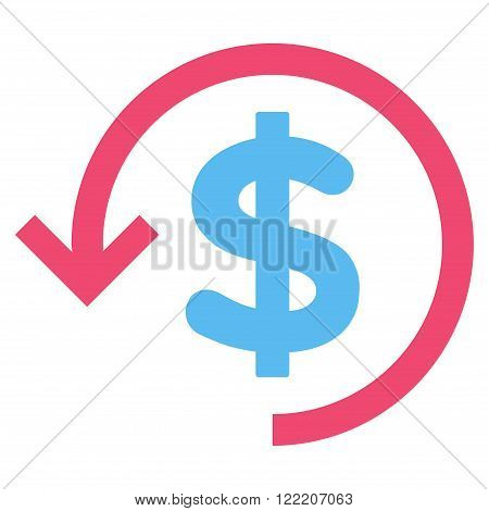 Rebate vector icon. Picture style is bicolor flat refund icon drawn with pink and blue colors on a white background.