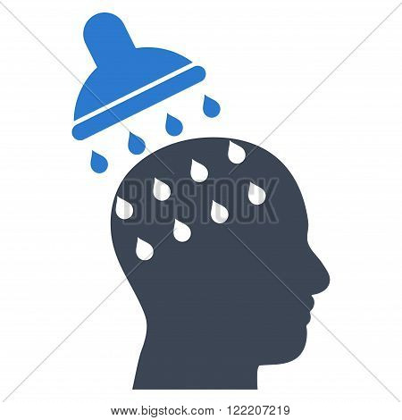 Brain Washing vector icon. Picture style is bicolor flat brain washing icon drawn with smooth blue colors on a white background.