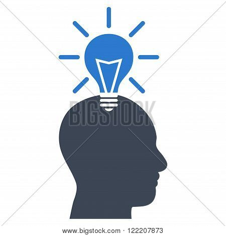 Genius Bulb vector icon. Picture style is bicolor flat genius bulb icon drawn with smooth blue colors on a white background.