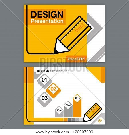 Presentation Template Design blank yelow grey black graphics charts headlines pencil theme.