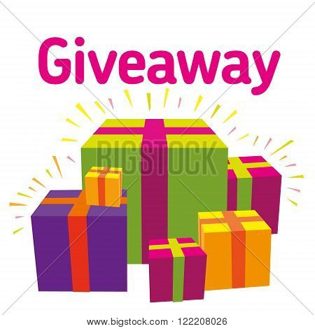 Vector image Giveaway white background Competition for subscribers. Social networks.