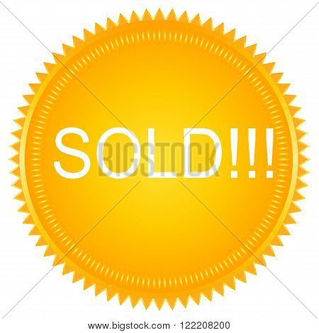 Sold vector round yellow label. Sold badge. Sold sticker