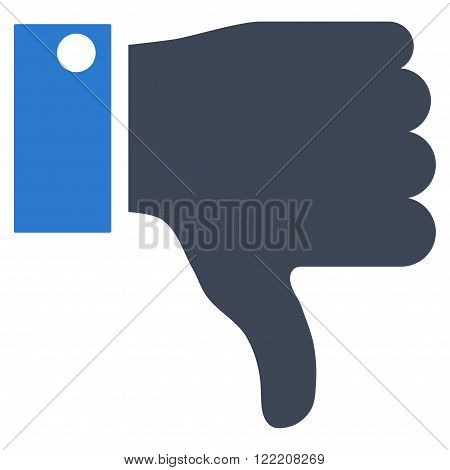 Thumb Down vector icon. Picture style is bicolor flat thumb down icon drawn with smooth blue colors on a white background.