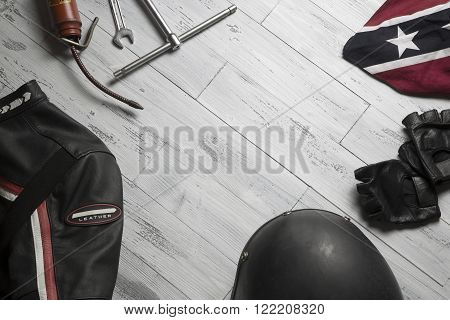 overhead of a set of vintage accessories for biker