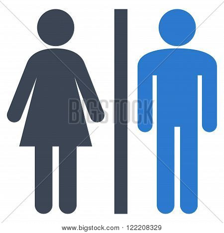 Lavatory Persons vector icon. Picture style is bicolor flat WC persons icon drawn with smooth blue colors on a white background.