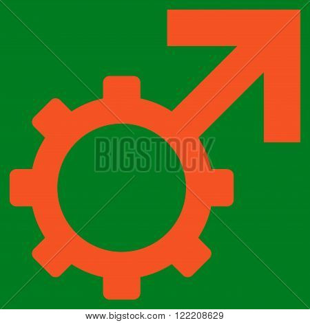 Technological Potence vector icon. Picture style is flat technological potence icon drawn with orange color on a green background.