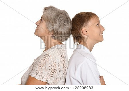 Granny and her  grandson on white background