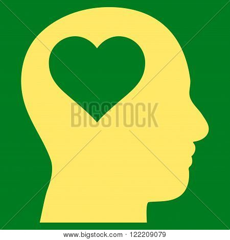 Lover Head vector icon. Picture style is flat lover head icon drawn with yellow color on a green background.