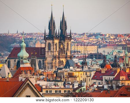 Prague Old Town with Church of Our Lady before Tyn. Aerial view from Letna Park, Czech Republic ** Note: Soft Focus at 100%, best at smaller sizes