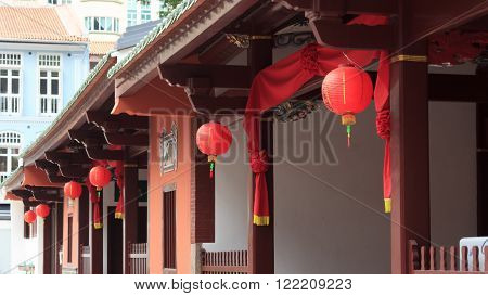 Chinese lanterns in buddhistic temple in chinatown Singapore