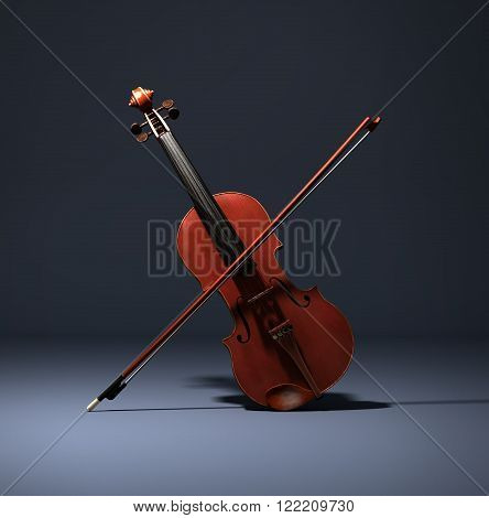 Atmospheric 3D render of a violin and a violin bow.