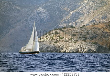 Yachting in Turkey - view of yacht and mountains from the sea