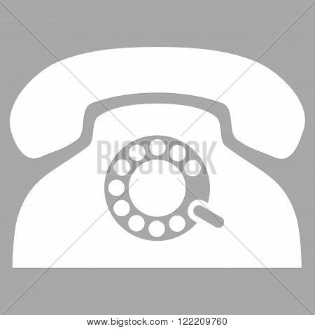 Pulse Telephone vector icon. Picture style is flat pulse phone icon drawn with white color on a silver background.