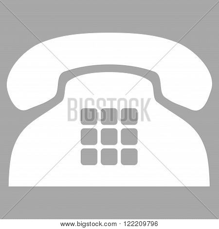 Tone Phone vector icon. Picture style is flat tone phone icon drawn with white color on a silver background.