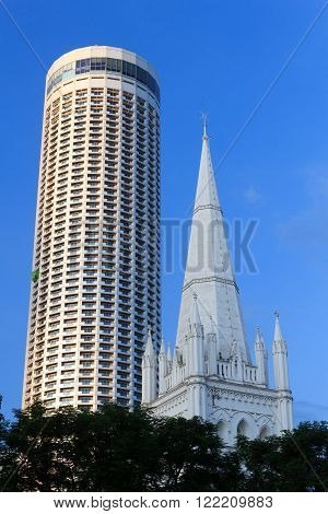 St Andrew's Cathedral steeple and tower, Singapore