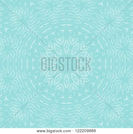 Abstract geometric seamless background. Floral concentric ornament light blue with white outlines. Delicate and dreamy blossom.