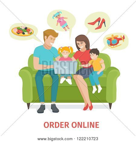 Flat design colorful  concept  for online gifts ordering and delivery service. Cartoon Happy family vector illustration.  Family of four make purchases through the internet sitting on the couch