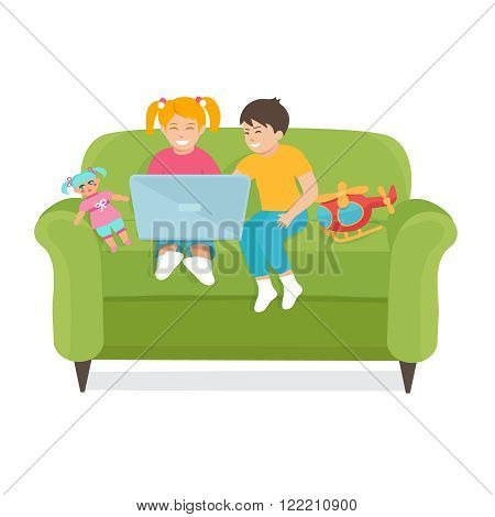 Children Use a laptop sitting on the couch.  Vector illustration of children boy and girl. Children use the Internet.Children with toys.