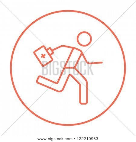 Paramedic running with first aid kit line icon.