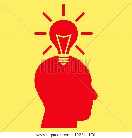 Genius Bulb vector icon. Picture style is flat genius bulb icon drawn with red color on a yellow background.