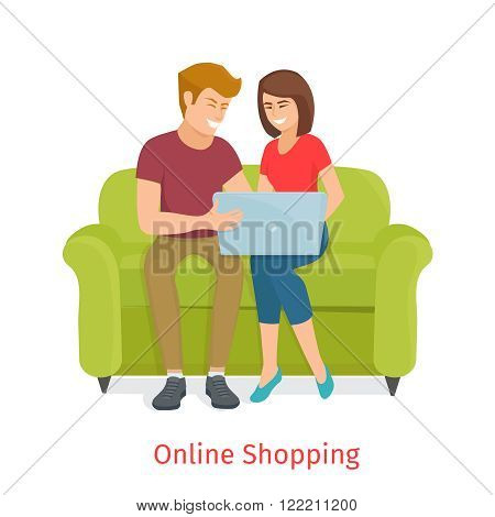 Man and woman doing online shopping. Laughing couple browsing the internet at the laptop. Cartoon Family  make purchases through the internet sitting on the couch . Online shopping vector illustration.