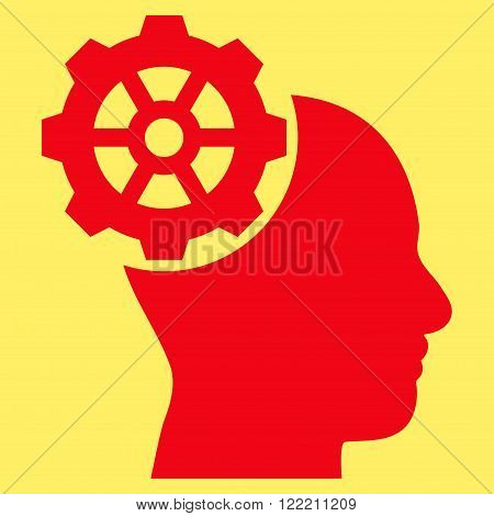 Head Gear vector icon. Picture style is flat head gear icon drawn with red color on a yellow background.