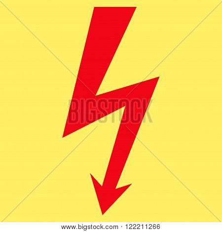 High Voltage vector icon. Picture style is flat high voltage icon drawn with red color on a yellow background.