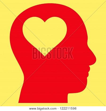 Lover Head vector icon. Picture style is flat lover head icon drawn with red color on a yellow background.